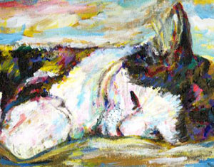 Cat Sleeping Painting by Ruth Burton Artist
