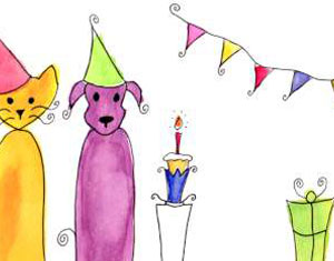 Party Watercolour Design by Ruth Burton Artist