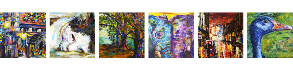 Six paintings by Ruth Burton, UK artist: winterton church painting, cat painting, twigmoor woods painting, elephant painting, new london west end theatre painting and goose painting.