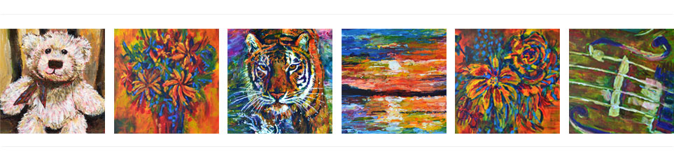 Six paintings by Ruth Burton, UK artist: teddy bear painting, flowers painting, tiger painting, sunset painting, flowers painting and violin painting.