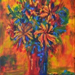 colourful flowers in red vase acrylic painting ruth burton uk artist