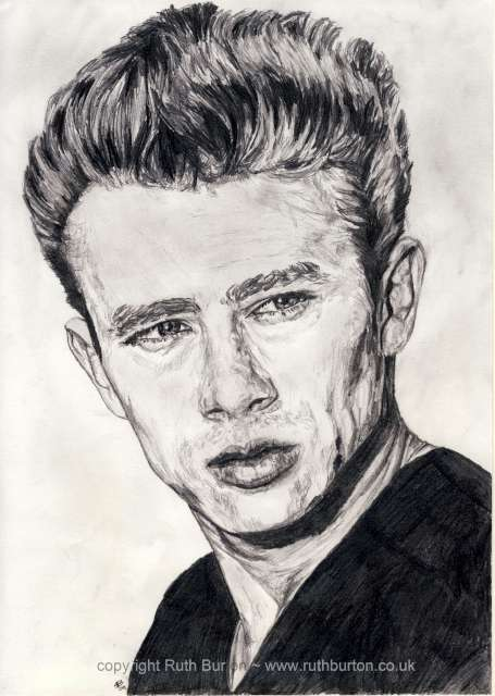 James dean actor pencil drawing ruth burton uk artist celebrity portrait