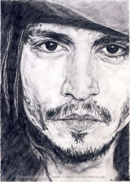 Johnny depp actor pencil drawing ruth burton uk artist celebrity portrait