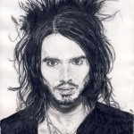 russell brand comedian pencil drawing ruth burton uk artist celebrity portrait
