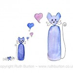 cat and kitten on fathers day cartoon style watercolour painting ruth burton uk artist love hearts and fishbone gift colourful curly cats