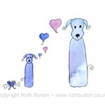 dog and puppy on fathers day cartoon style watercolour painting ruth burton uk artist love hearts and dogbone gift colourful doodle dogs