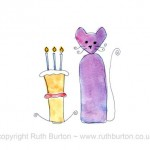 cat birthday celebration cake cartoon style watercolour painting ruth burton uk artist celebrate colourful curly cats