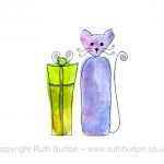 cat birthday present gift cartoon style watercolour painting ruth burton uk artist happy birthday colourful curly cats
