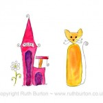 cat and cat house with flower cartoon style watercolour painting ruth burton uk artist new home colourful curly cats