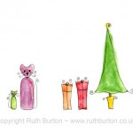 cat and christmas tree with gifts cartoon style watercolour painting ruth burton uk artist christmas presents colourful curly cats