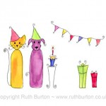 dog cat birthday party bunting cake presents gifts cartoon style watercolour painting ruth burton uk artist colourful curly cats and doodle dogs
