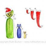 cat in santa hat and christmas stockings cartoon style watercolour painting ruth burton uk artist colourful curly cats