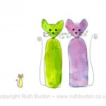 two cats and kitten new baby cartoon style watercolour painting ruth burton uk artist new arrival colourful curly cats