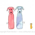 two dogs and puppy new baby cartoon style watercolour painting ruth burton uk artist new arrival colourful doodle dogs