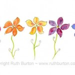 five colourful flowers cartoon style watercolour painting ruth burton uk artist colourful frilly flowers