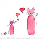 pink cat and kitten on mothers day cartoon style watercolour painting ruth burton uk artist love hearts and fishbone gift colourful curly cats
