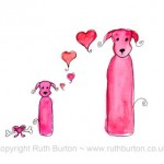 pink dog and puppy on mothers day cartoon style watercolour painting ruth burton uk artist love hearts and dogbone gift colourful doodle dogs