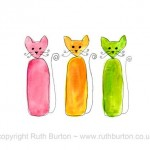 three cats cartoon style watercolour painting ruth burton uk artist party time colourful curly cats