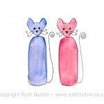 two cats anniversary love valentines cartoon style watercolour painting ruth burton uk artist happy anniversary colourful curly cats