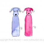 two dogs anniversary love valentines cartoon style watercolour painting ruth burton uk artist happy anniversary colourful doodle dogs